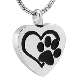 $enCountryForm.capitalKeyWord Australia - IJD11327 Pet Memorial Jewelry - Paw Print Heart Stainless Steel Cremation Urn Necklace Keepsake Pendant For Dog Cat Ashes