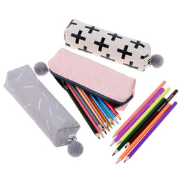 $enCountryForm.capitalKeyWord Australia - Pencil Case for Girls Cute Canvas Cosmetic bag Pen Bag Stationery Pouch Box kids gift office Supplies