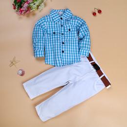 Boys White Plaid Shirt NZ - 2019 Summer Boys Clothing Sets Kids Casual Long Sleeve Plaid Shirt + White Pants Suit 3 Piece Set Baby Clothing