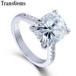 87bea1ca2743 Transgems Piedra Grande 14K 585 Oro Blanco 5ct Carat 9X11 Cushion Cut FG  Color Moissanite Anillo de Compromiso para Mujeres Regalo de boda C18122801