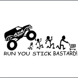 stick running Australia - Reflective RUN YOU STICK BASTARD! 4x4 Car Sticker Window Wall Bummper Laptop Windshield Waterproof Car Door Motorcycle Sticker Vinyl Decal