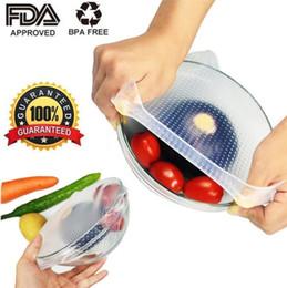 Ingrosso 4 pz / set Food Grade Mantenendo Fresh Wrap Riutilizzabile Involucro di Silicone Alimentare ad alta elasticità Seal copertura di Vuoto Stretch Coperchio Ambientale Utensili Da Cucina