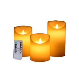 flameless candles remote Australia - 3Pcs set Cylindrical Remote Control Candle Timed Flameless LED Candle Light Changing Unique Home Decor