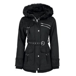 black lady trench coats Australia - gothic Autumn women long coat winter fur hooded trench zipper pocket high waist slim plus size high street black lady hoodies