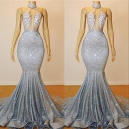 61bf796c2aa416 Silber Prom Kleider Abend Party Tragen Pailletten Kristall Perle Stehkragen  Backless Mermaid Lange Günstige Prom Pageant Formale Kleider