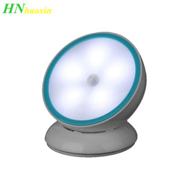 battery motion sensor night light NZ - HaoXin 360 Degree Rotation LED Motion Sensor Night Light USB Operated Battery Operated Corridor Wall lamp Cabinet Closet Wardrobe light