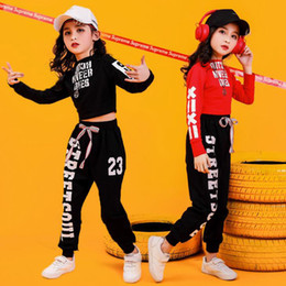 Wholesale jazz dance outfits costumes resale online - Girls Sweatshirt Pants Jazz Ballroom Dancing Outfits stage wear clothes Kids Cheerleader Hip Hop Clothing Suits Dance Costumes
