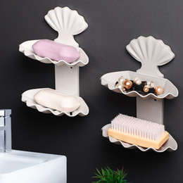 Discount soap holder wall mount - Plastic Drain Soap Storage Rack Dish Sponge Holder Strong Wall Mounted Kitchen Bathroom Accessories Double Layer Shell S