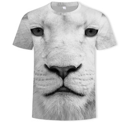87837fb69 White Lion T Shirts for Men Big Yards 3D Digital Printing Short Sleeve  Breathable Crew Neck Top Tees S-5XL