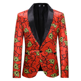 fc4e9ab079c83 Red Floral Suit Blazer Men Spring Autumn New Single Button Suit Jacket Mens  Wedding Prom Suits Blazers Terno Masculino XXL