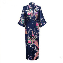 japanese kimono nightgown UK - Sexy Bride Bridesmaid Wedding Dressing Woman Japanese Kimono Dress Peacock Print Satin Silk Yukata Bathing Robe Nightgown