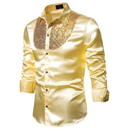 $enCountryForm.capitalKeyWord Australia - Men's Luxury Sequin Dress Shirts Long Sleeve Silk Satin Shiny Disco Party Shirt Men Chemise Stage Dance Nightclub Prom Costume