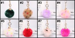 Artificial Chains Wholesalers Australia - Free DHL Metal Alloy Unicorn Fluffy Keychain Pendant Keychains Cute Pompom Artificial Rabbit Fur Ball Key Chain Car Keyring 10CM