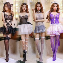 Wholesale Sexy Princess lace mini dress Lady Lover bondage bow fishnet stocking halter costumes porn erotic Tie COSPLAY lingeries stripper