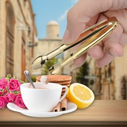 Wholesale Promotion pc Coffee Sugar Clip Stainless Steel Tweezer Mini Clamp Tong Clips Coffee Little Tea Clips Hot Kitchen Bar Tool Supply