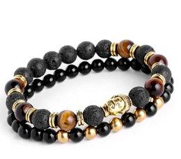 $enCountryForm.capitalKeyWord NZ - 2pcs set Mens Bracelets Lava buddha bracelet For Men Natural Stone Beads Bracelet Gift Religion Yoga pulseras pulseira masculina K2599