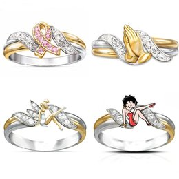 Towing Ring Australia - Exquisite Silver Gold Double Color Plated Tow Tone Heart Knots Dangcing Fairy Ring Red ribbon Pray Hope Rings for Women