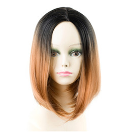 Ombre Bob Black Brown Wig Australia - Short Bob Style Wigs Ombre Black brown Straight Hair High Temperature Fiber Cosplay Wigs For Women