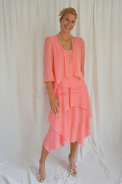 tiered mother bride dress jacket NZ - New With Jacket Mother Of The Bride Dresses Coral Chiffon Tea Length Tiered Skirt Formal Mother's Dresses Formal Evening Gowns Wear Custom