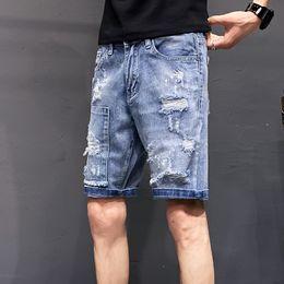 $enCountryForm.capitalKeyWord Australia - Summer New Short Jeans Men Fashion Washed Solid Color Straight Casual Denim Shorts Man Street Trend Wild Hip Hop Loose