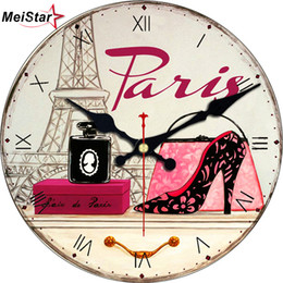 Discount wall watch silent - MEISTAR Fashion Shoes Design Clock Silent Living Room Decor Study Office Kitchen Home Watches Wall Art Large Wall Clocks