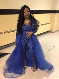 Ingrosso Abiti da Sera Tute Maniche Lunghe Abiti da Ballo Staccabile Train Lace Applique Luxury African Party Womens Pant Suit