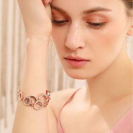 $enCountryForm.capitalKeyWord NZ - ashion Jewelry Bracelets Viennois Rose Gold Circles Bracelet & Bangles For Women Rhinestones Paved Double Layer Round Female Wedding Jewe...