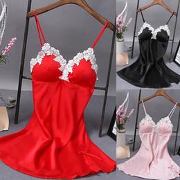$enCountryForm.capitalKeyWord Australia - Ladies Sexy Silk Sleepwear Satin Nightgown V-neck Nightdress Slip Nighties Summer Night Dress Lace Night Gown Lingerie For Women