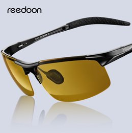 86ae0ffcefe Reedoon Men Night Vision Glasses Polarized Anti-Glare Lens Aluminium  Magnesium Frame Yellow Sunglasses Driving Goggles For Car