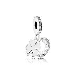 Lucky Fashion Jewelry UK - NEW 100% 925 Sterling Silver 1:1 792089CZ LUCKY DAY HANGING CHARM Original Women Wedding Fashion Jewelry