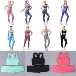 Großhandel Nahtlose 2 Stück Frauen Yoga Set Gym Kleidung Sets Fitness Leggings + Weste Sport Anzug Frauen Trainingsanzug Aktive Tragen Kleidung Mutterschaft M1706