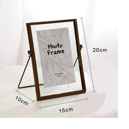 modern living photo frame UK - 6 Inch Metal Glass Frame creative Modern Plant Specimen Folder Glass Photo Frame Home Room Decoration Wedding Photo Frame