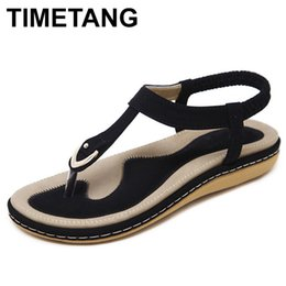 $enCountryForm.capitalKeyWord NZ - Timetang Summer Shoes Women Bohemia Beach Flip Flops Soft Flat Sandals Woman Casual Comfortable Plus Size Wedge Sandals C065 Y19070403