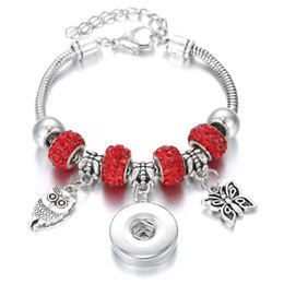 $enCountryForm.capitalKeyWord Australia - New Snap Bracelet Silver Lobster Buckle Snake Chain Bangle Owl Butterfly Charm Crystal Beaded Bracelet Fit 18MM Snap Jewelry