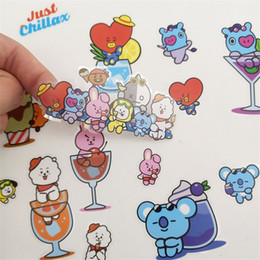 Pattern Decor Australia - BTS DIY Craft Kpop BT21 COOKY TATA Self Adhesive Stickers Bangtan Boys Pattern Stickers Photo Scrapbooking Phone Decor HF198