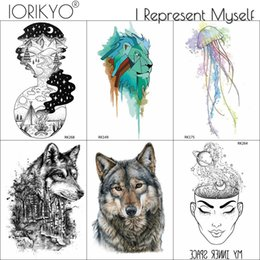 4b5c1a0fb IORIKYO Men Fashion Wolf Temporary Tattoo Stickers Watercolor Lion Water  Transfer Tatoos Thinker Jellyfish Fake Tattoo Supplies