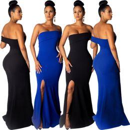 Strapless Cotton Maxi Australia - Black Blue Solid Elegant Mermaid Evening Party Dresses Strapless Neck One Short Sleeve High Split Floor Length Women Dress 2019 Hot Sale