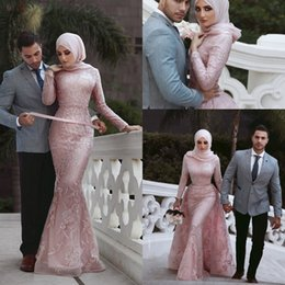 Wholesale Said Mhamad Elegant Pink Muslim Mermaid Prom Evening Dresses Long Lace Applique Long Sleeves Formal Dresses Evening Gowns