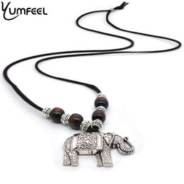 $enCountryForm.capitalKeyWord NZ - ethnic Yumfeel New Handmade Vintage Ethnic Necklaces Wood Beads Tibetan Silver Thai Elephant Pendants Necklace Animel Jewelry