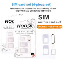 Wholesale New 4 In 1 Noosy Nano Micro SIM Card Converter Adapter Kit Tools For Samsung Huawei Xiaomi Universal Sim Card Needle with Retail Box