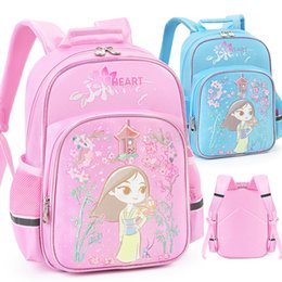 $enCountryForm.capitalKeyWord Australia - New Pink Blue Mulan Princess Girls School Bag For Kids Children Elementary Primary School Book Backpack Bag