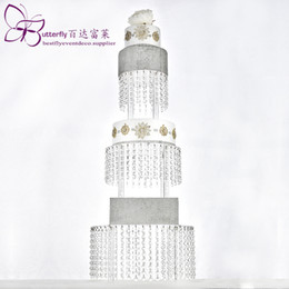 $enCountryForm.capitalKeyWord Australia - Acrylic Cupcake Tower Stand 3 Tier Round with Hanging Crystal Beaded Chandelier Cake Stand wedding Party Cake Display Tower