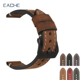26mm watch buckle Australia - Eache 20mm 22mm 24mm 26mm Genuine Leather Watch Band Crazy Horse Leather Strap For P Watch Hand Made With Black Buckles Y19052301