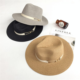 ladies black straw spring hats NZ - HSS Brand Summer ladies travel leisure straw hat Alloy ribbon jazz cap Fashion new girl sun hat #47512