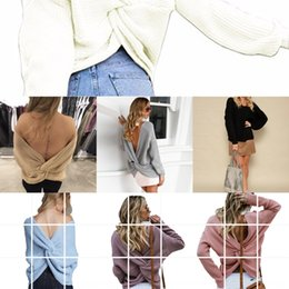 long fork style UK - OL commuting New 2020 autumn and winter round neck pullover backless cross for women Pullover fork sweater fork sweater