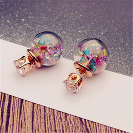 korean accessories glasses 2020 - New Earrings Korean Version Of The Front And Rear Stud Earrings Sandpaper Glass Ball Women's Ear Accessories Anti A