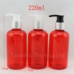 Discount red plastic container pump - 220ml x 20 empty red cosmetic lotion bottles with pump , shampoo liquid soap bottle , colored PET container with dispens