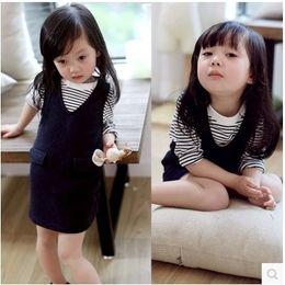 Girls Western Shirt Australia - 2019 Spring New Korean Girls Child Baby Western Stripe T-shirt + Cotton Vest Skirt Suit