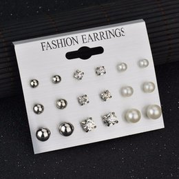 Rhinestone Jewelry Sets Designs Australia - 2019 New Fashion 9 Pairs Set Mix Design Square Rhinestone Stud Earrings For Women AAA Cubic Zirconia Earrings Fashion Jewelry