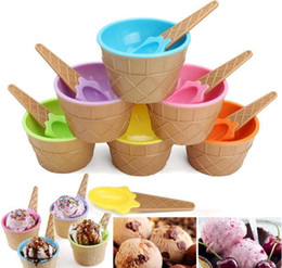Ice Cream Dessert Bowls Australia - Plastic Ice Cream Bowls with Spoons Kids Cute Durable Dessert Cup Ice cream Cup 6 Colors